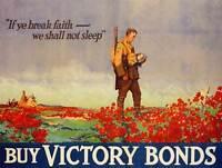 PROPAGANDA WAR WWI CANADA VICTORY BONDS POPPY FLANDERS GRAVE POSTER BB7047B