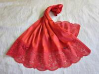 Vintage Waist Slip S Silky Red Antron Nylon Lovely Lace Side Slit Half Slip NEW