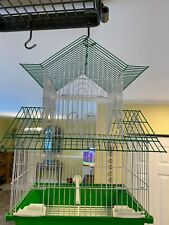 """New listing Green Bird Wired Cage for Birds Supplies Included 11"""" x 8.5"""" by 18"""" high"""
