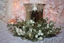 Ganz Kissing Krystal Floral Tea Light Set Mercury Glass Champagne Votive Holder