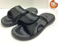 Air Balance Men's Slide Slipper Sandal, Big Size 13-15, Black / Gray