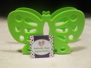 Brand New ~ Green Plastic Napkin Holder Butterfly Design