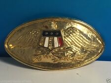 VINTAGE GOLD MILITARY BELT BUCKLE AMERICAN EAGLE ARROWS SOLID BRASS CREST ARMY