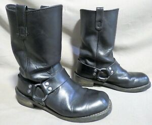MENS UNBRANDED BLACK LEATHER BUCKLE GOTH ENGINEER MOTORCYCLE BOOTS SIZE 8.5 D