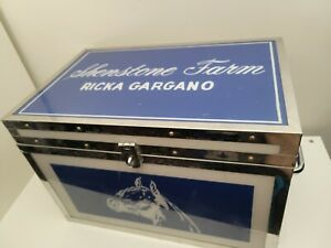 Horse Tack Trunk Box Large Riding Gear Storage Custom Blue Chrome