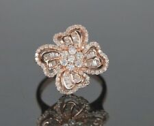 CHINA RI 14K Rose Gold Round Diamond Cocktail Flower Ring Band Size 9