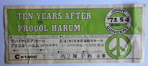 TEN YEARS AFTER  // PROCOL HARUM // Concert ticket // TOKYO 1972