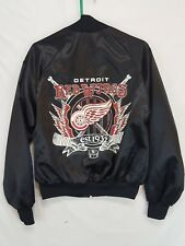 Vintage Detroit Red Wings Mens Size Medium Black Nylon Satin Hockey Jacket