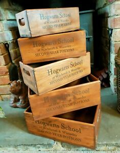 Harry Potter Hogwarts School  Rustic Vintage Style Set Of 5 Boxes Witchcraft