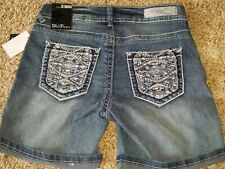 Women's NEW Wall Flower Studded Embroider Faded Bermuda Jean Shorts Size 1