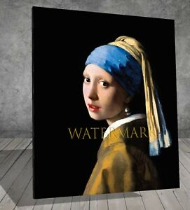 Johannes Vermeer Girl with a Pearl Earring FRAMED CANVAS PAINTING ART PRINT 431