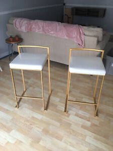White Faux Leather, Gold Base, Counter Stool Set of 2