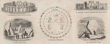 ANTIQUE 1845 PRINT STONEHENGE WILTSHIRE DRUID WINTER SUMMER SOLSTICE PAGAN 3