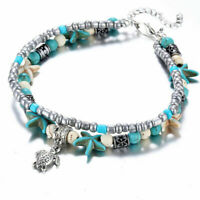 Women Elephant Beach Anklet Bracelet Turtle Turquoise Sea Starfish Boho Beads
