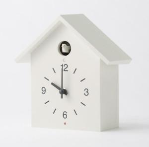 MUJI Mechanical Cuckoo Wall Clock Large White Light Dark Sensor Handmade Bellow