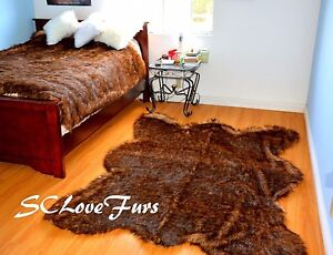 """58"""" X 72"""" Grizzly Bearskin Faux Fur Area Rug Plush Lodge Cabin Accents Decors"""