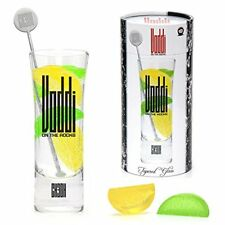 Vodka On the Rocks Gift Set With Cocktail Glass, Stirrer, Lemon & Lime Ice Cubes