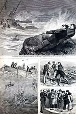 Nova Scotia Canada 1873 Atlantic Wreck BRANDY CLANCY FISHERMEN DIVERS Art Print