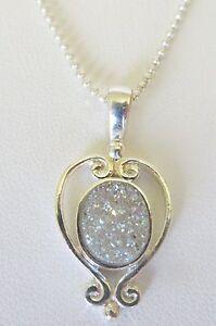 Women's Silver Plated Heart Sajen Silver Druzy Pendant  w/18 Inch Chain