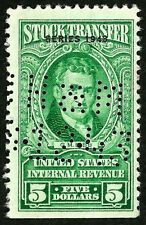 OLD US stamp OLD USa sc#RD154 green stock transfer revenue overprint 1943