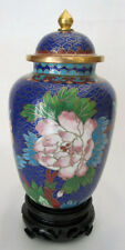 "6"" Chinese Beijing Cloisonne Cremation Urn Hong Kong Dark Blue with Floral - New"