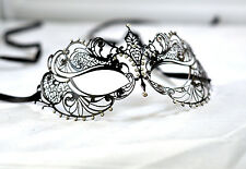 Stunning Black Metal Filigree Venetian Masquerade Mask With Diamantes Laser Cut