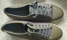 Lanvin Men's Grey Khaki Suede and Patent Low Top Trainer Sneaker Shoe Size 8 UK
