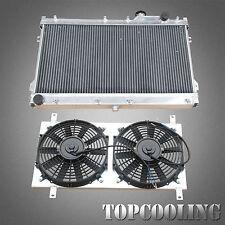 Aluminum Radiator+Fan Shroud 2 Row For Mazda MX5 NA 1.6L 1.8L B6 BP 4Cyl Petrol
