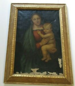 18TH TO 19TH CENTURY OLD MASTER PAINTING PORTRAIT AFTER RAFAEL  ICON MADONNA