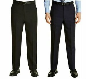 Mens Smart Formal Casual Dress Trousers Expand a Band Waist 4 Way Stretch 32-48