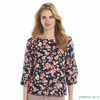Lauren Conrad Blue Pink Yellow Floral Bow Sleeve Crepe Blouse Top XS