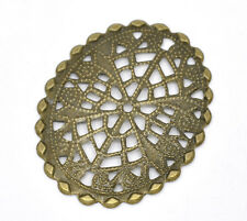 50 DIY Bronze Tone Filigree Oval Wraps Connectors Art Deco Jewelry Making