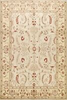 Vegetable Dye Floral Ivory Peshawar Oriental Area Rug Wool Hand-knotted 8x10 ft