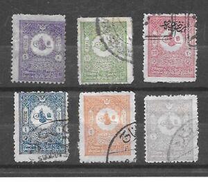 Turkey Stamps- Scott # 110-115/A17-Canc/H-1901-NG/OG