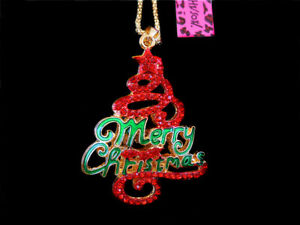 Betsey Johnson Red Crystal Enamel Christmas Trees Pendant Long Chain Necklace
