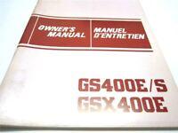 OEM Suzuki GS 400 GS400 E/S GSX400 E Owner's Manual (EN, FR) PN 99011-44422-02B