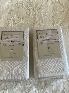 """Hotel Collection BNWT 2x CLASSIC """"Jardin"""" Quilted White King Shams RRP$364 AUD"""