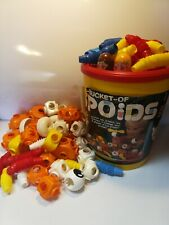 1985 Vintage BUCKET of POPOIDS Tomy 61 PIECES Plastic Construction TOYS Learning