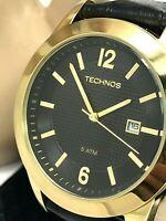 Technos Men's Watch Gold Tone Case Black Dial Date Leather Band Dress Quartz