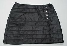 Allure Leather Womens S Black Genuine Leather Snap Mini Skirt CA31701