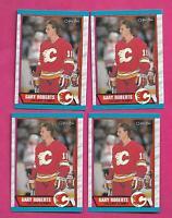 4 X 1989-90 OPC # 202 FLAMES GARY ROBERTS ROOKIE  NRMT-MT CARD (INV# C3450)