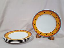Thomas Germany Stars Blue Red Orange Salad Plates - Set of 4 - EXCELLENT