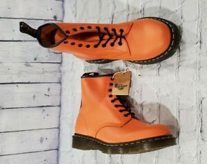 Dr. Martens 25714 Smooth Leather 8 Eye Orange Lace Up Boots MENS 11 WOMENS 12