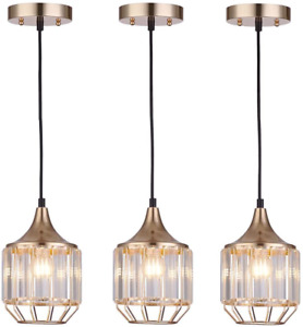 Cuaulans 3 Pack Caged Modern Crystal Pendant Light, Copper Gold Finish Ceiling