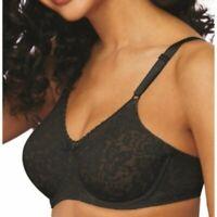 NWOT BALI Women's Sz 38D Black Lace 'N Smooth Seamless Underwire Bra $40 MSRP