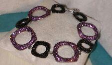 Designer sterling silver fuchsia pink black Swarovski Crystal Circle bracelet
