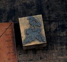 STORCH im Nest Druckstock Klischee Bleisatz Druckplatte Geburt Kind Storchennest