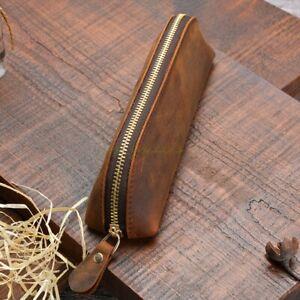 Handmade Genuine Leather Zipper Vintage Pen Bag Pencil Case Cosmetic Pouch Brush