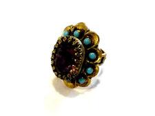 Bijou alliage bronzé bague cristal améthyste et pierres bleues réglable  ring