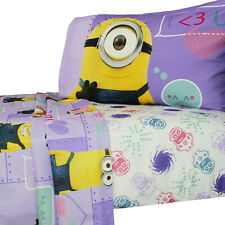 New 3pc MINIONS WAY 2 CUTE FULL SHEET SET - Girls Kids Child Bedding - FREE SHIP